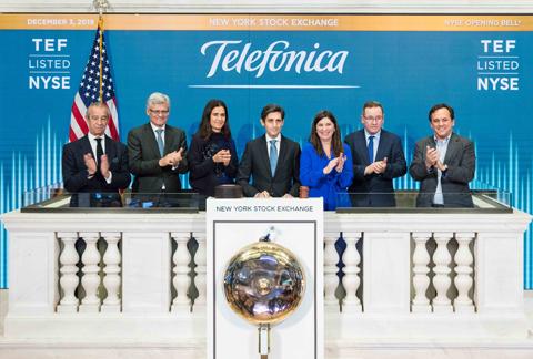 José María Álvarez-Pallete inaugura el inicio de la jornada bursátil de hoy en la Bolsa de Nueva York
